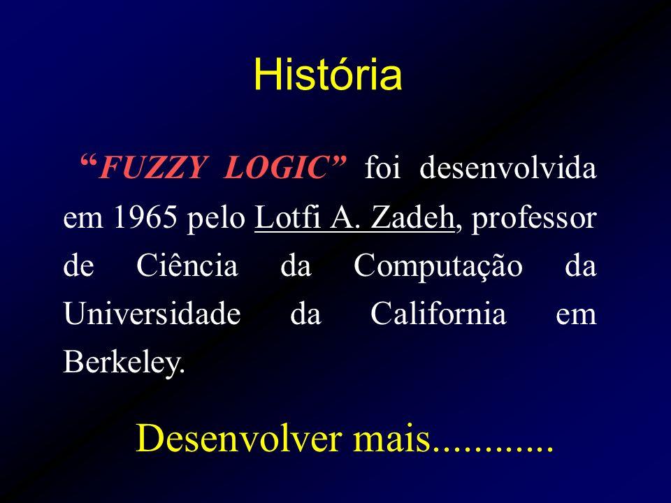 FUZZY LOGIC foi desenvolvida em 1965 pelo Lotfi A. Zadeh, professor de Ciência da Computação da Universidade da California em Berkeley. História Desen