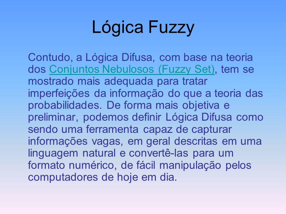 Lógica Fuzzy Entre a certeza de ser e a certeza de não ser, existem infinitos graus de incerteza. Esta imperfeição intrínseca à informação representad
