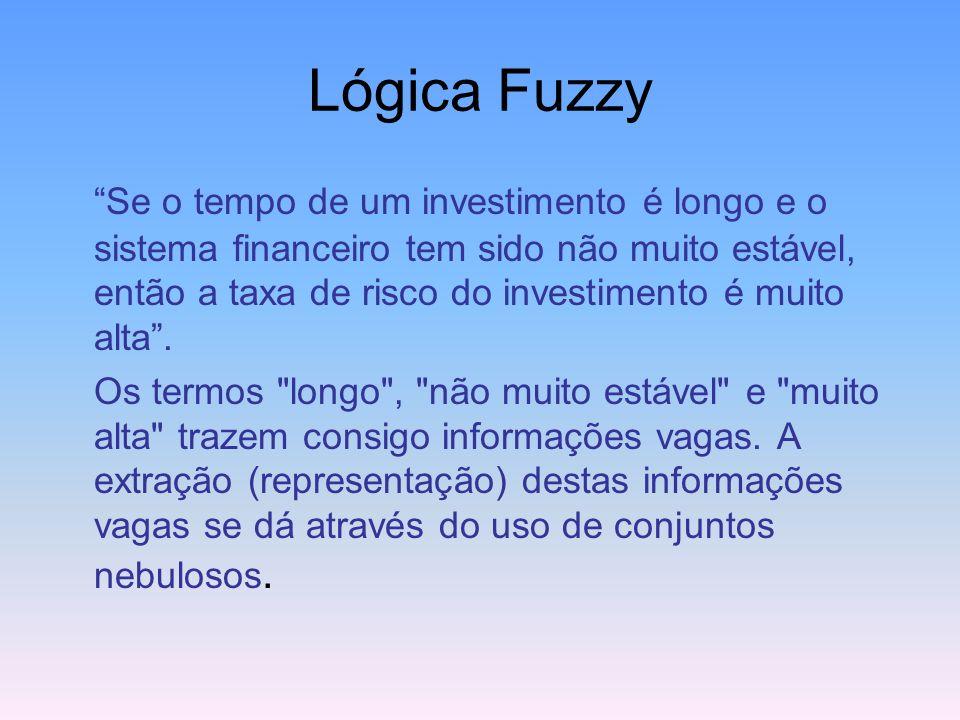 Lógica Fuzzy Contudo, a Lógica Difusa, com base na teoria dos Conjuntos Nebulosos (Fuzzy Set), tem se mostrado mais adequada para tratar imperfeições