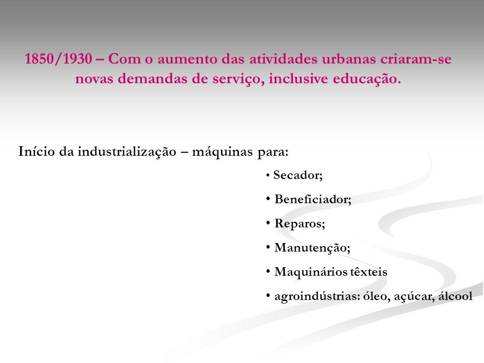 1850/1930 – Com o aumento das atividades urbanas criaram-se novas demandas de serviço, inclusive educação.