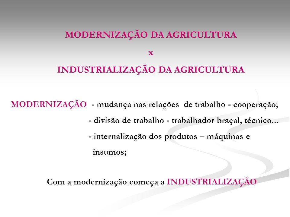 MODERNIZAÇÃO DA AGRICULTURA x INDUSTRIALIZAÇÃO DA AGRICULTURA MODERNIZAÇÃO - mudança nas relações de trabalho - cooperação; - divisão de trabalho - trabalhador braçal, técnico...