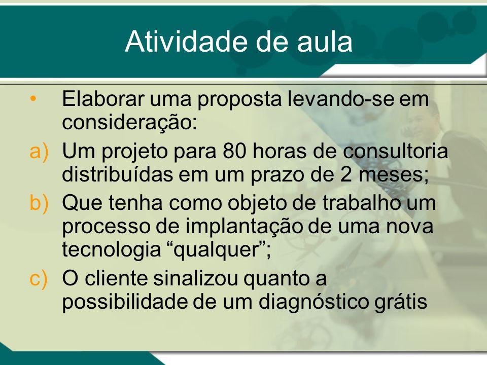 Atividade de aula Elaborar uma proposta levando-se em consideração: a)Um projeto para 80 horas de consultoria distribuídas em um prazo de 2 meses; b)Q