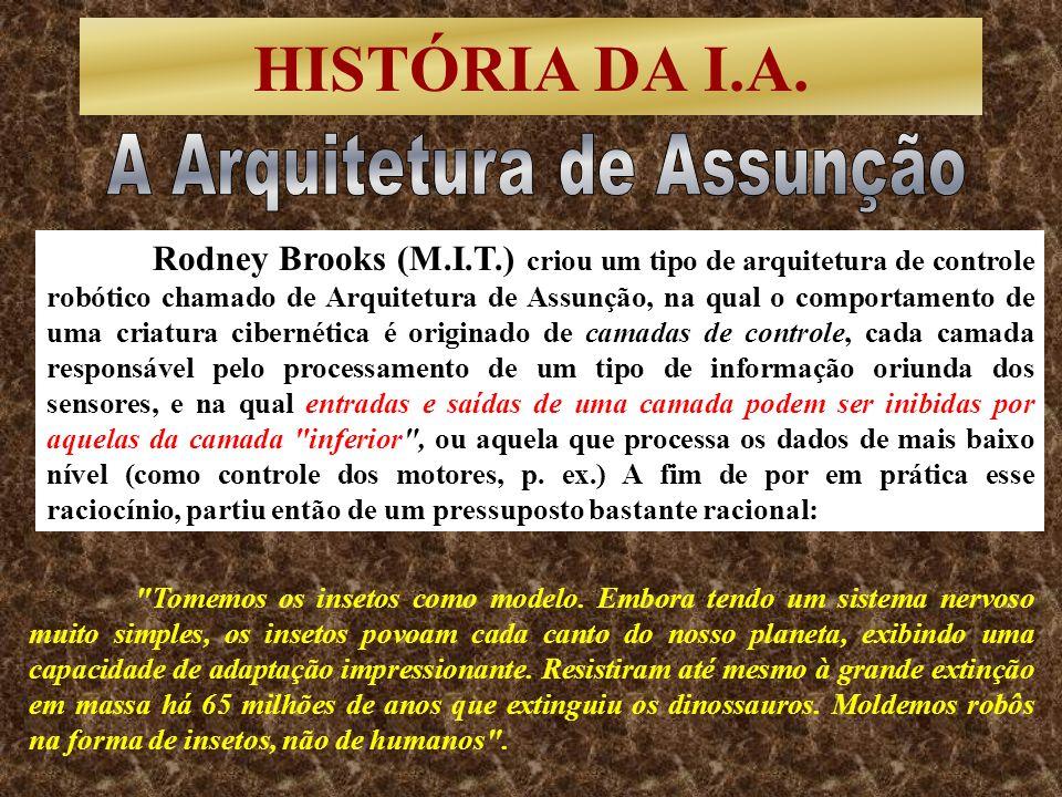 HISTÓRIA DA I.A. Rodney Brooks (M.I.T.) criou um tipo de arquitetura de controle robótico chamado de Arquitetura de Assunção, na qual o comportamento