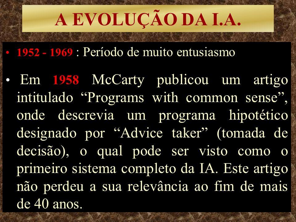 A EVOLUÇÃO DA I.A. 1952 - 1969 : Período de muito entusiasmo Em 1958 McCarty publicou um artigo intitulado Programs with common sense, onde descrevia