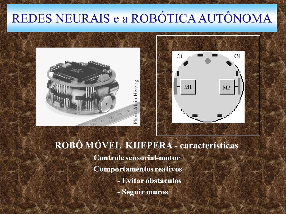 REDES NEURAIS e a ROBÓTICA AUTÔNOMA ROBÔ MÓVEL KHEPERA - características Controle sensorial-motor Comportamentos reativos - Evitar obstáculos - Seguir muros