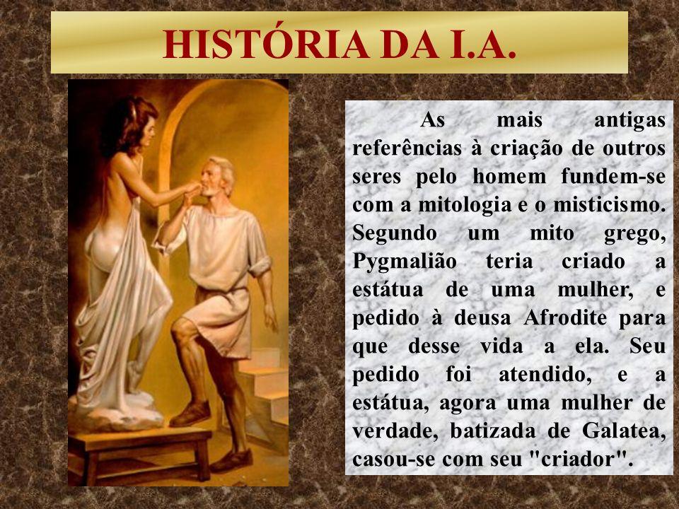 HISTÓRIA DA I.A. As mais antigas referências à criação de outros seres pelo homem fundem-se com a mitologia e o misticismo. Segundo um mito grego, Pyg