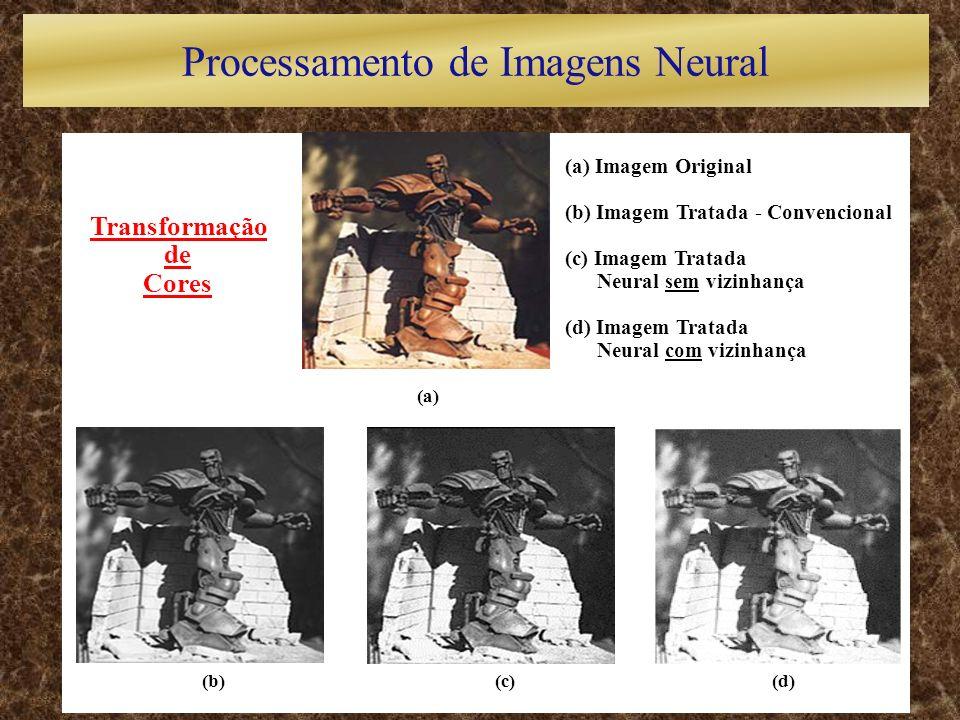 (a) (b)(c)(d) Transformação de Cores (a) Imagem Original (b) Imagem Tratada - Convencional (c) Imagem Tratada Neural sem vizinhança (d) Imagem Tratada Neural com vizinhança Processamento de Imagens Neural