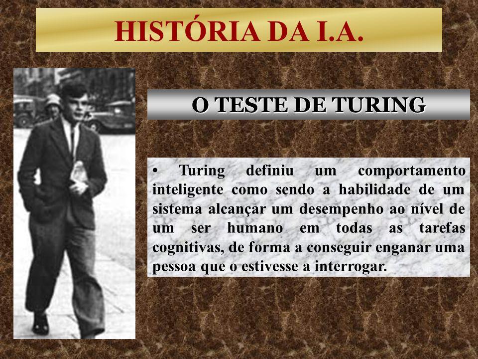 HISTÓRIA DA I.A. Turing definiu um comportamento inteligente como sendo a habilidade de um sistema alcançar um desempenho ao nível de um ser humano em