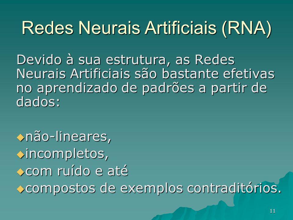 11 Redes Neurais Artificiais (RNA) Devido à sua estrutura, as Redes Neurais Artificiais são bastante efetivas no aprendizado de padrões a partir de da