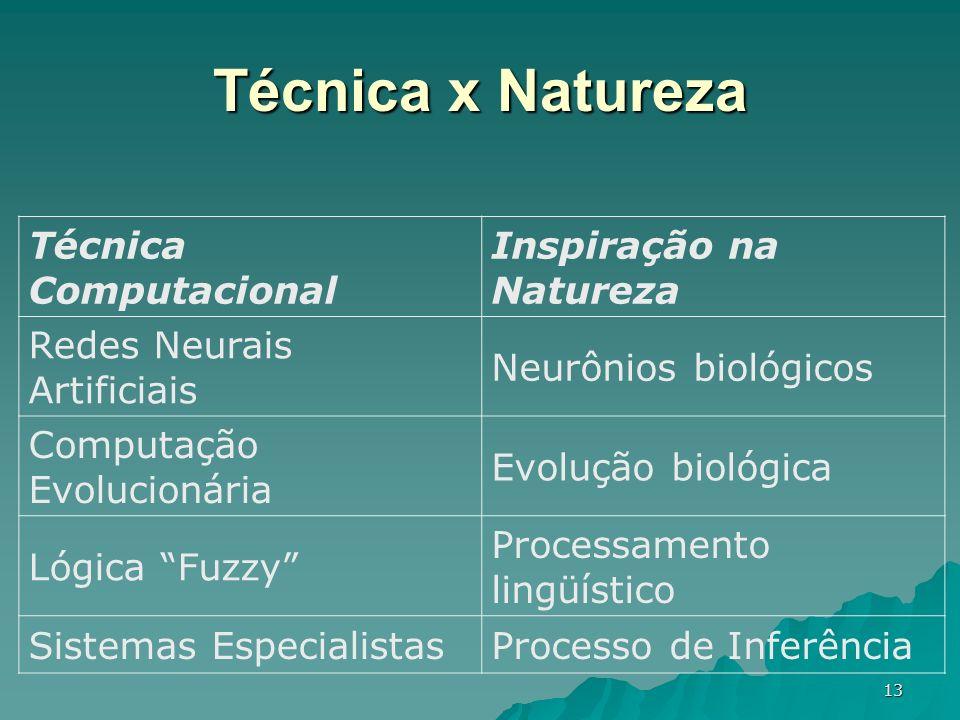 13 Técnica Computacional Inspiração na Natureza Redes Neurais Artificiais Neurônios biológicos Computação Evolucionária Evolução biológica Lógica Fuzz