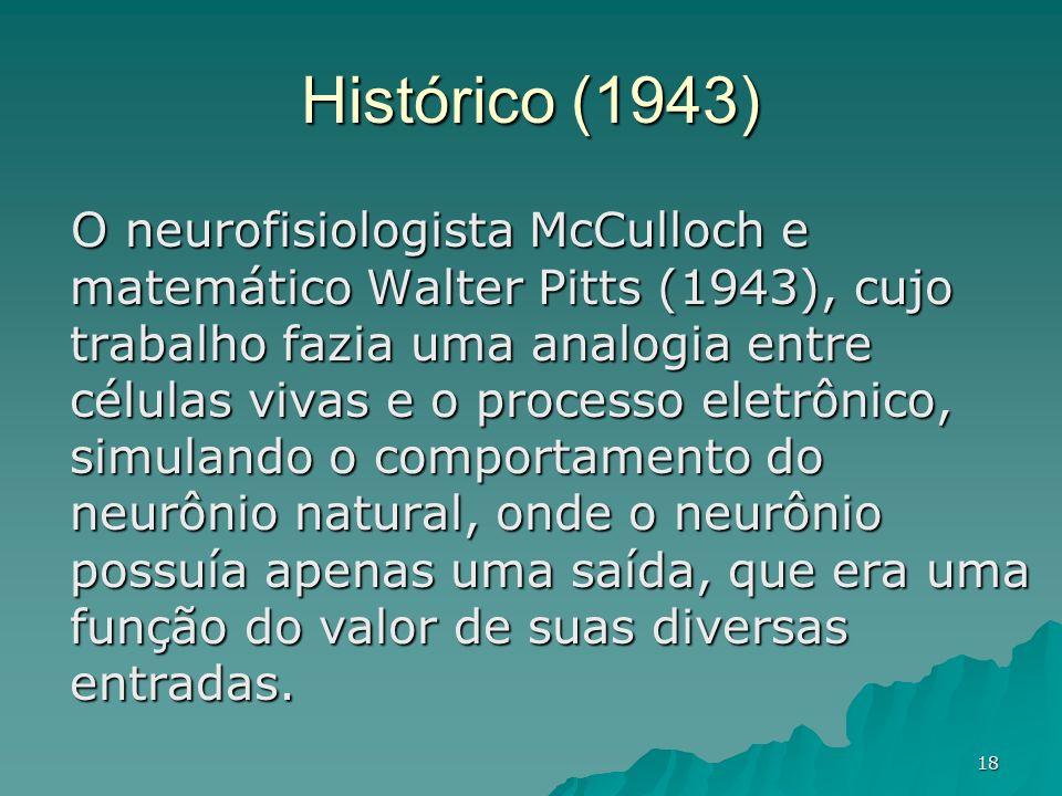 18 Histórico (1943) O neurofisiologista McCulloch e matemático Walter Pitts (1943), cujo trabalho fazia uma analogia entre células vivas e o processo