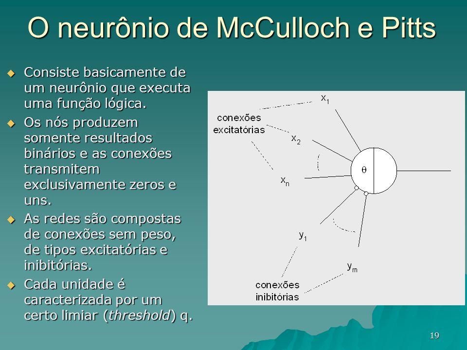 19 O neurônio de McCulloch e Pitts Consiste basicamente de um neurônio que executa uma função lógica. Consiste basicamente de um neurônio que executa