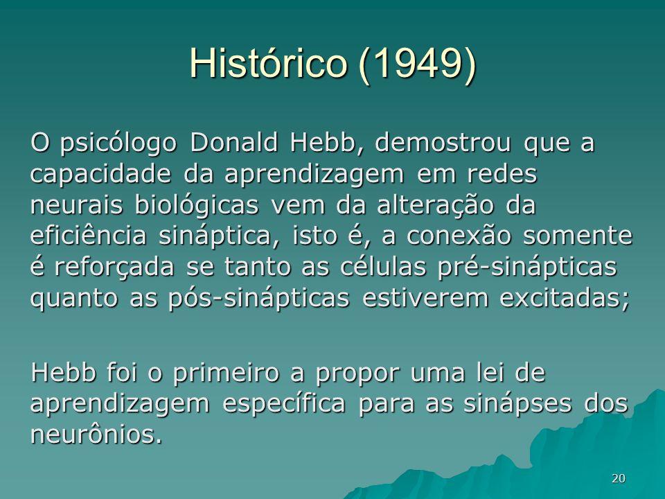 20 Histórico (1949) O psicólogo Donald Hebb, demostrou que a capacidade da aprendizagem em redes neurais biológicas vem da alteração da eficiência sin