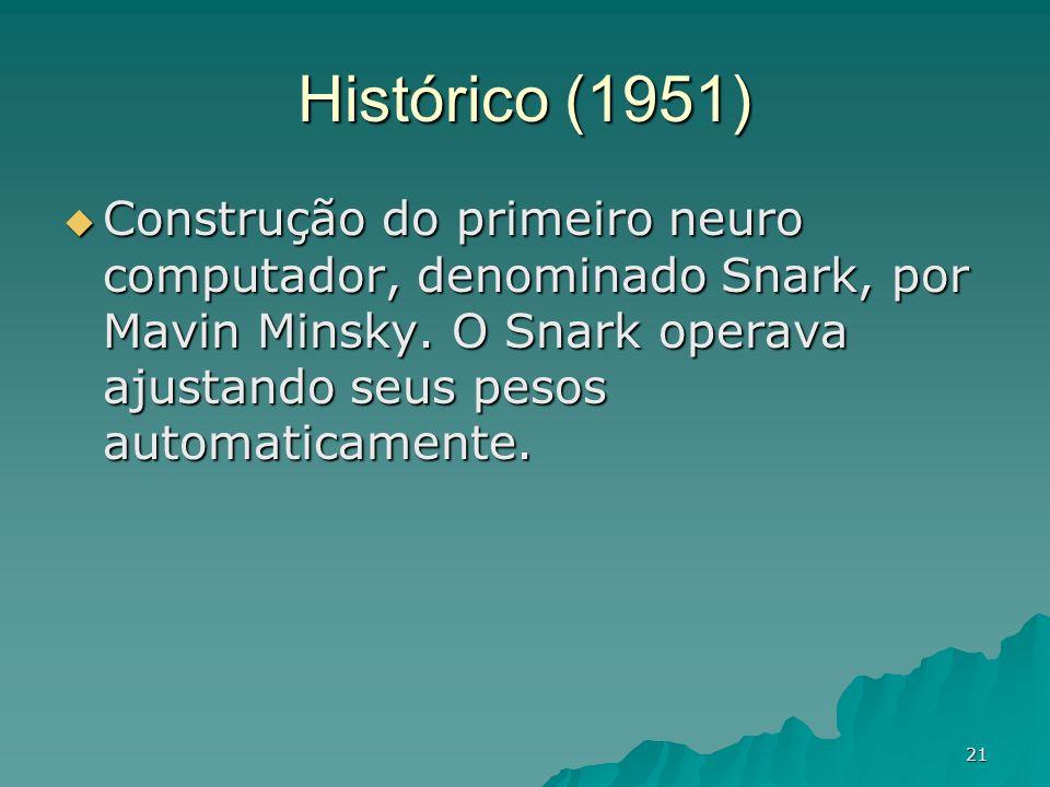 21 Histórico (1951) Construção do primeiro neuro computador, denominado Snark, por Mavin Minsky. O Snark operava ajustando seus pesos automaticamente.