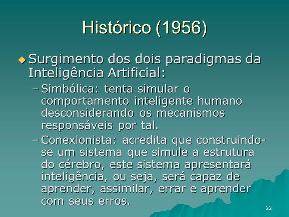 22 Histórico (1956) Surgimento dos dois paradigmas da Inteligência Artificial: Surgimento dos dois paradigmas da Inteligência Artificial: –Simbólica: