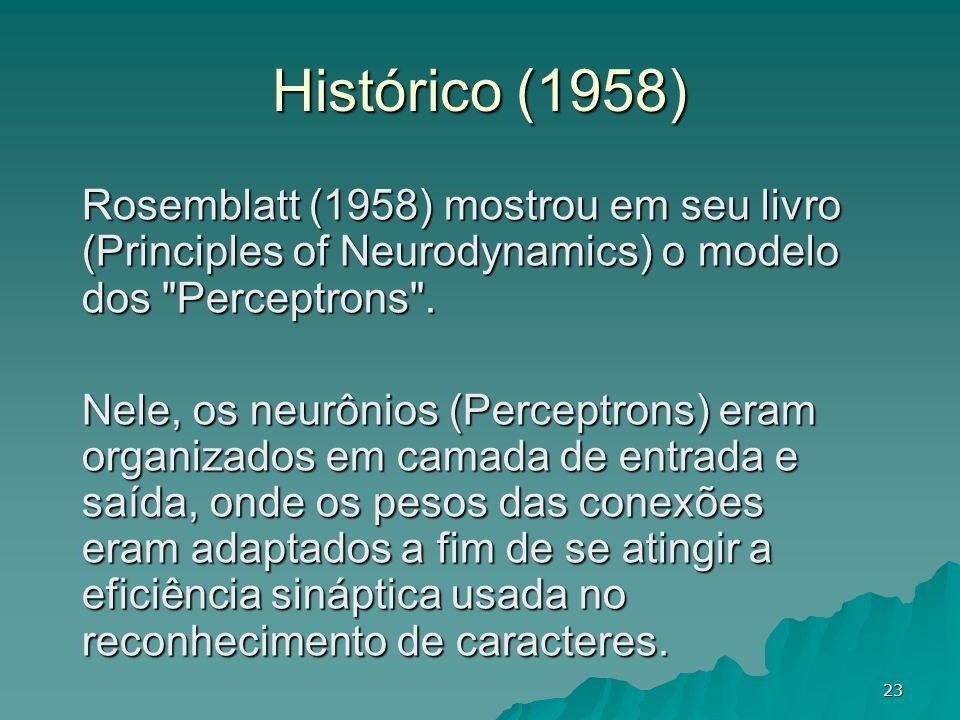 23 Rosemblatt (1958) mostrou em seu livro (Principles of Neurodynamics) o modelo dos