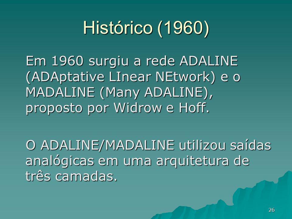 26 Histórico (1960) Em 1960 surgiu a rede ADALINE (ADAptative LInear NEtwork) e o MADALINE (Many ADALINE), proposto por Widrow e Hoff. O ADALINE/MADAL