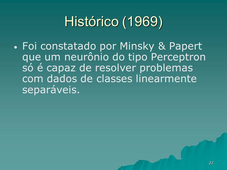 27 Histórico (1969) Foi constatado por Minsky & Papert que um neurônio do tipo Perceptron só é capaz de resolver problemas com dados de classes linear