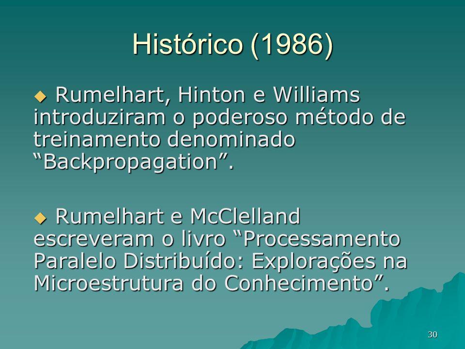 30 Histórico (1986) Rumelhart, Hinton e Williams introduziram o poderoso método de treinamento denominado Backpropagation. Rumelhart, Hinton e William