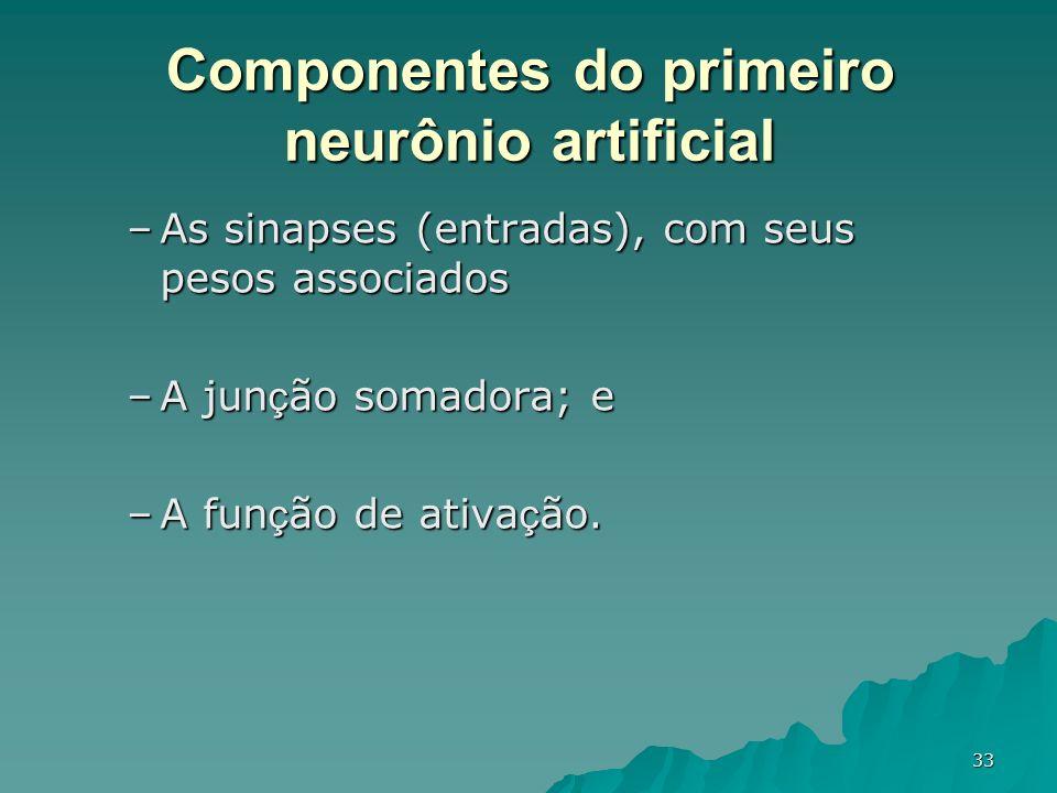 33 –As sinapses (entradas), com seus pesos associados –A jun ç ão somadora; e –A fun ç ão de ativa ç ão. Componentes do primeiro neurônio artificial