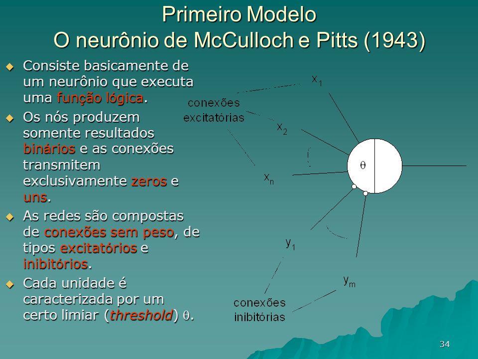 34 Primeiro Modelo O neurônio de McCulloch e Pitts (1943) Consiste basicamente de um neurônio que executa uma fun ç ão l ó gica. Consiste basicamente