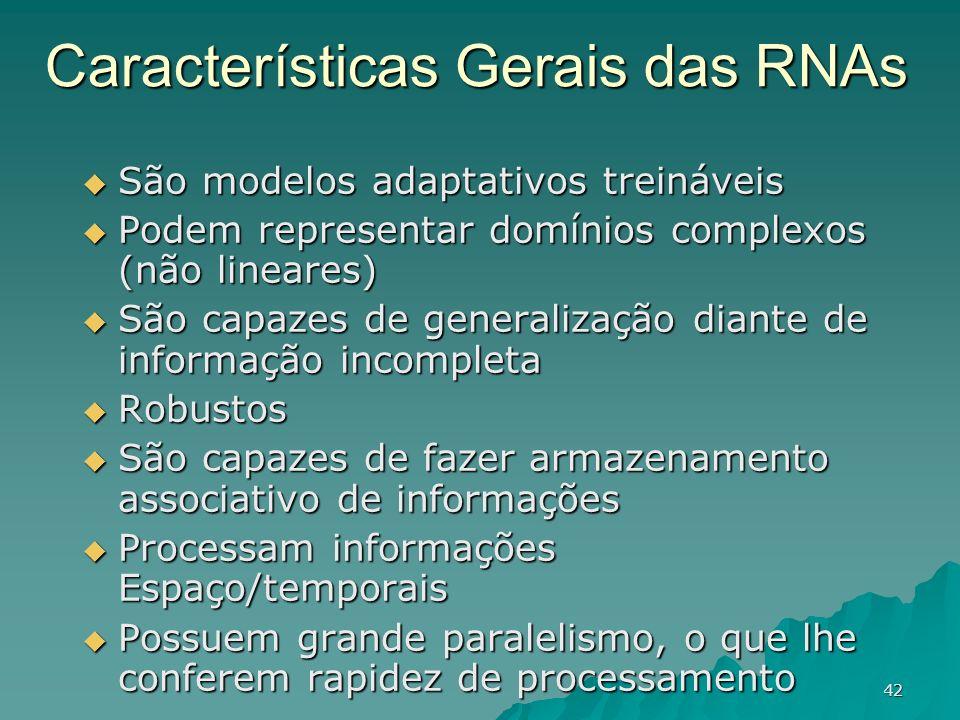 42 Características Gerais das RNAs São modelos adaptativos treináveis São modelos adaptativos treináveis Podem representar domínios complexos (não lin