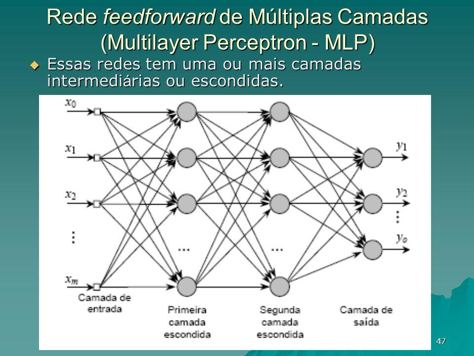 47 Rede feedforward de Múltiplas Camadas (Multilayer Perceptron - MLP) Essas redes tem uma ou mais camadas intermedi á rias ou escondidas. Essas redes