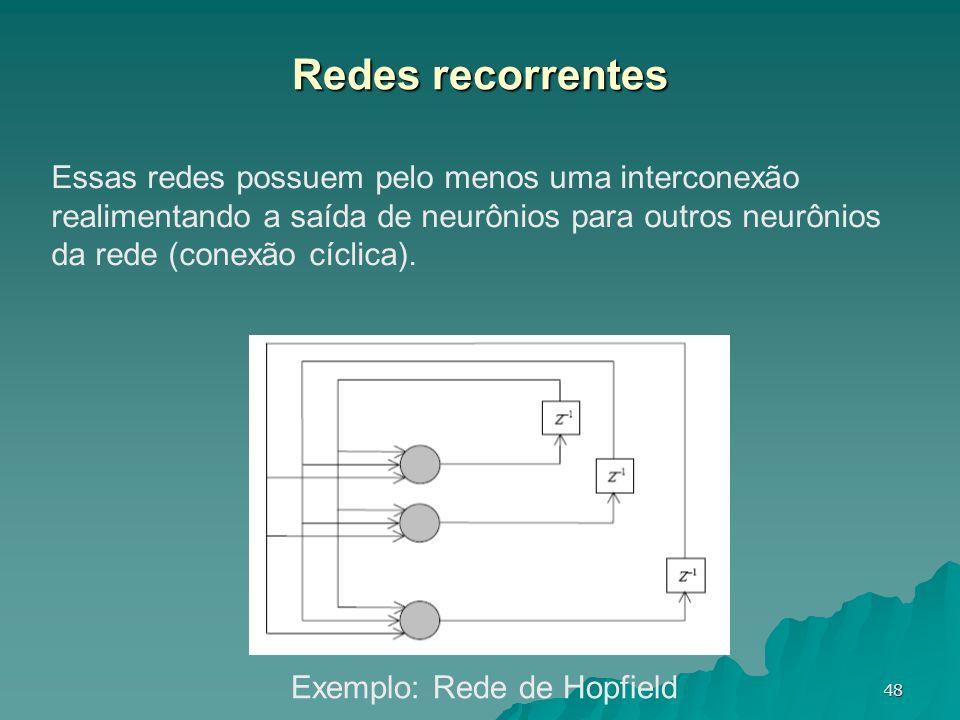 48 Redes recorrentes Essas redes possuem pelo menos uma interconexão realimentando a saída de neurônios para outros neurônios da rede (conexão cíclica