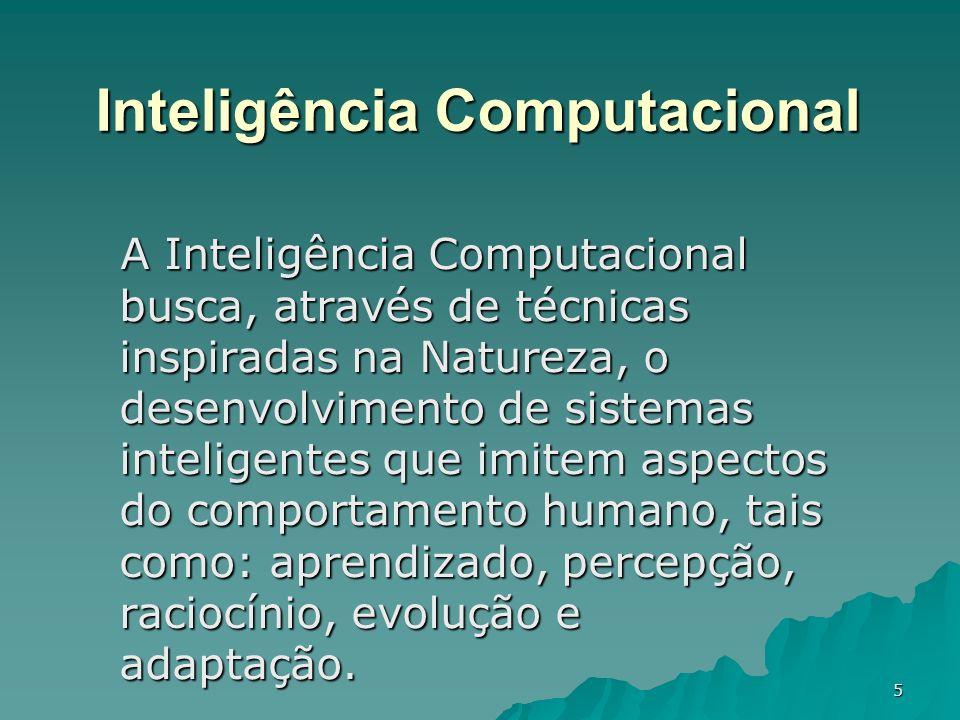 5 Inteligência Computacional A Inteligência Computacional busca, através de técnicas inspiradas na Natureza, o desenvolvimento de sistemas inteligente