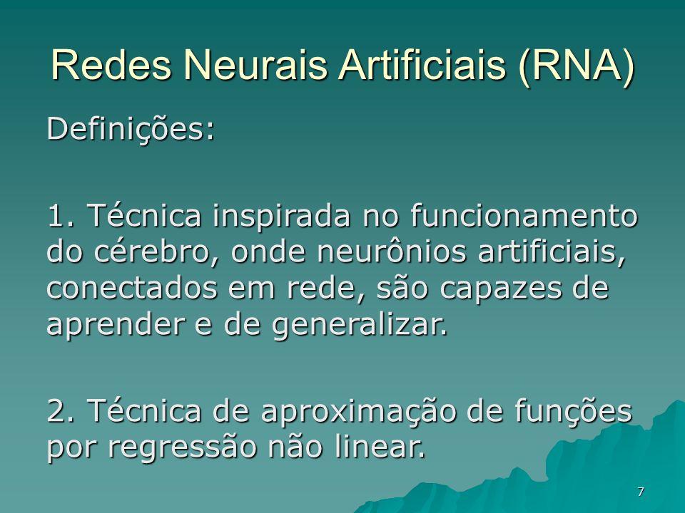 7 Definições: 1. Técnica inspirada no funcionamento do cérebro, onde neurônios artificiais, conectados em rede, são capazes de aprender e de generaliz