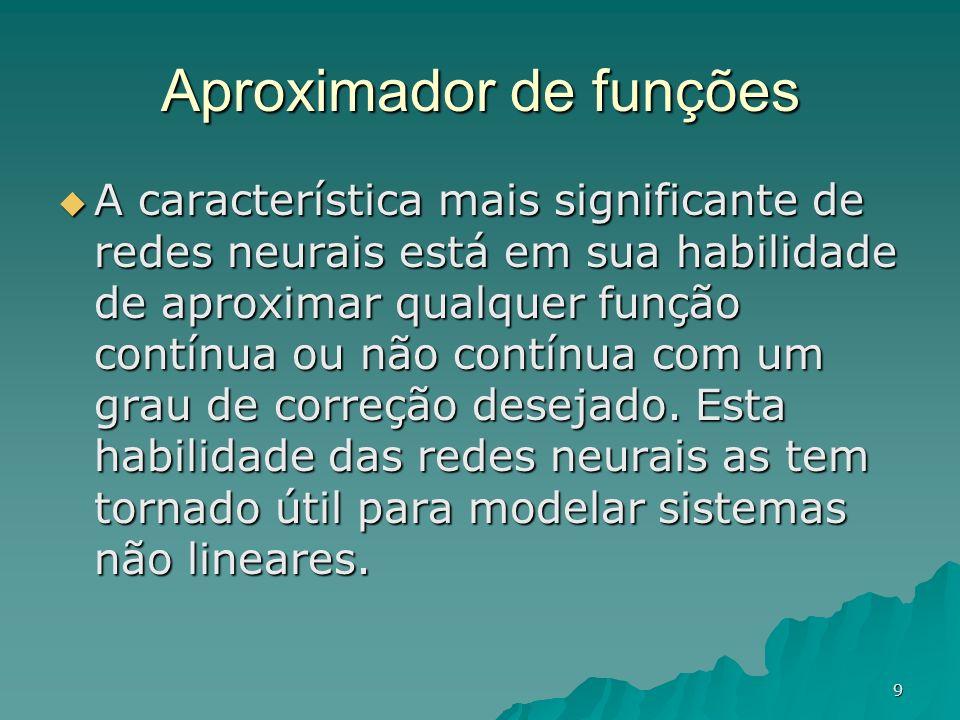 9 A característica mais significante de redes neurais está em sua habilidade de aproximar qualquer função contínua ou não contínua com um grau de corr