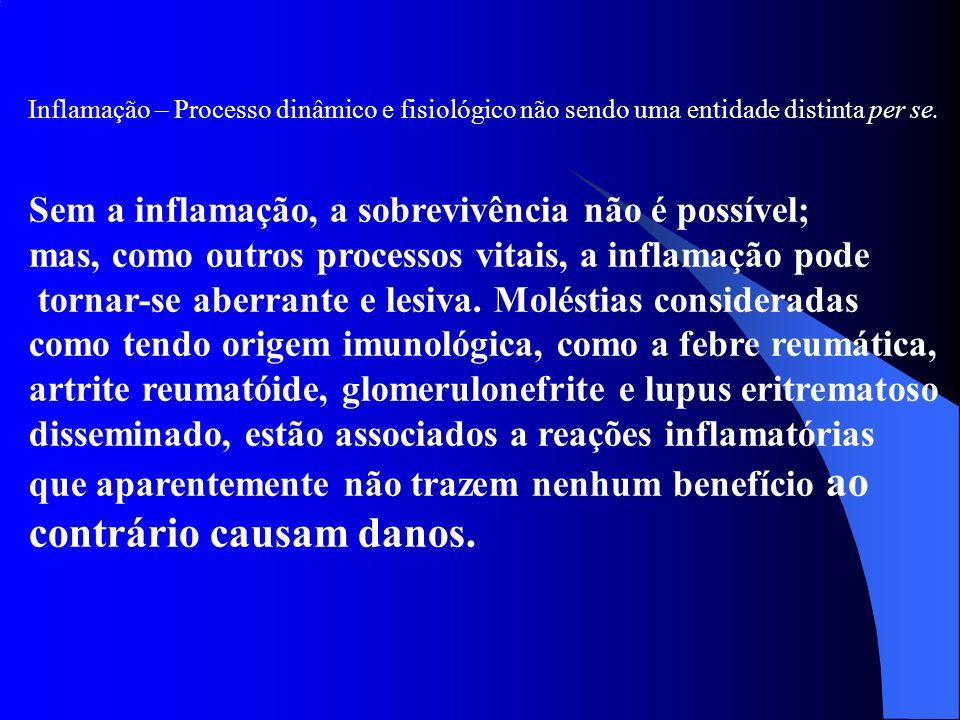Inflamação – Processo dinâmico e fisiológico não sendo uma entidade distinta per se. Sem a inflamação, a sobrevivência não é possível; mas, como outro