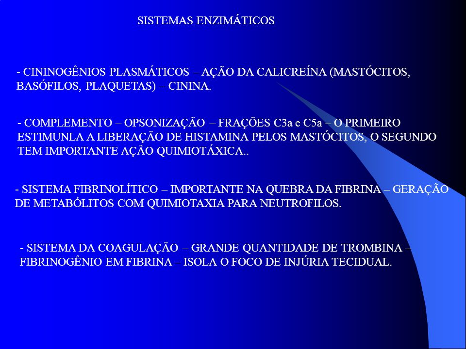 SISTEMAS ENZIMÁTICOS - CININOGÊNIOS PLASMÁTICOS – AÇÃO DA CALICREÍNA (MASTÓCITOS, BASÓFILOS, PLAQUETAS) – CININA. - COMPLEMENTO – OPSONIZAÇÃO – FRAÇÕE