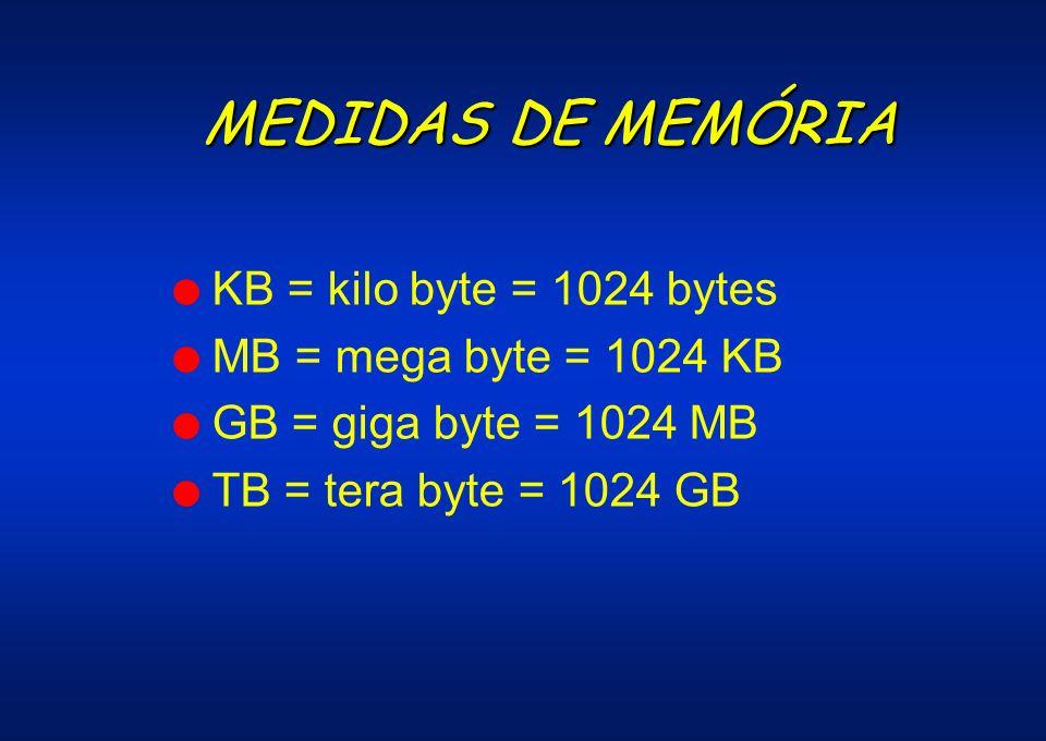 MEDIDAS DE MEMÓRIA l KB = kilo byte = 1024 bytes l MB = mega byte = 1024 KB l GB = giga byte = 1024 MB l TB = tera byte = 1024 GB