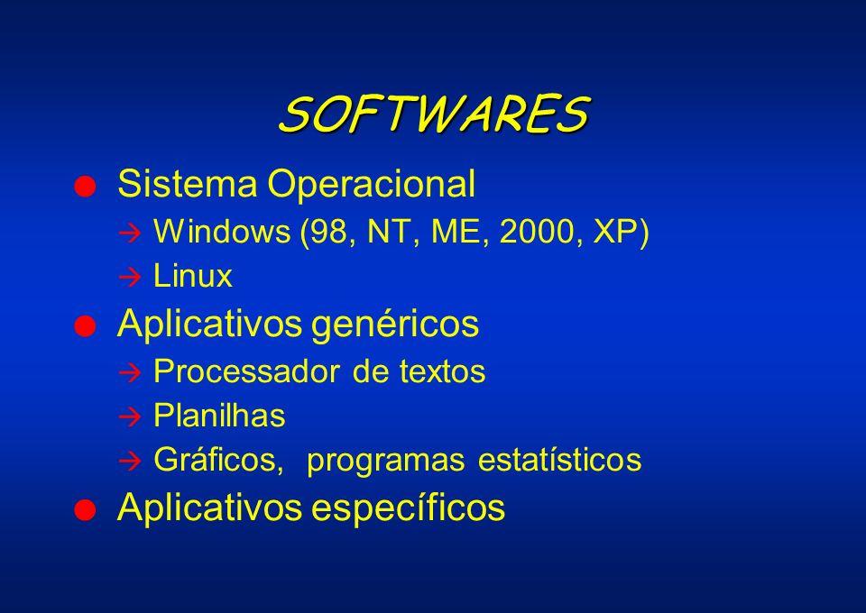 SOFTWARES l Sistema Operacional Windows (98, NT, ME, 2000, XP) Linux l Aplicativos genéricos Processador de textos Planilhas Gráficos, programas estat