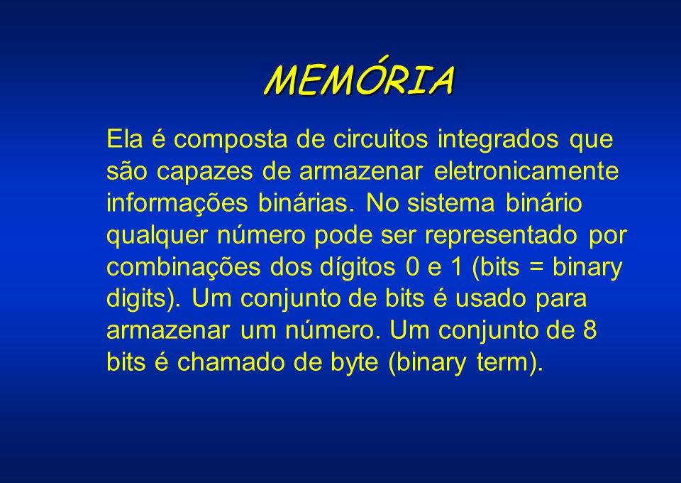 MEMÓRIA Ela é composta de circuitos integrados que são capazes de armazenar eletronicamente informações binárias. No sistema binário qualquer número p