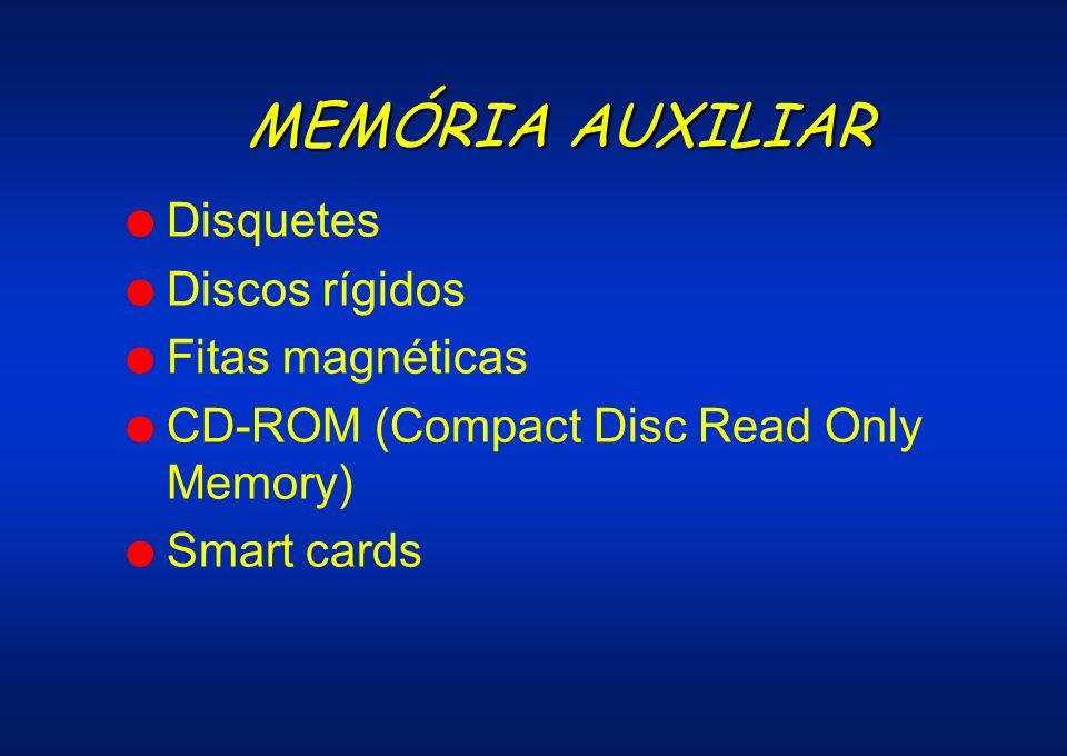 MEMÓRIA AUXILIAR l Disquetes l Discos rígidos l Fitas magnéticas l CD-ROM (Compact Disc Read Only Memory) l Smart cards