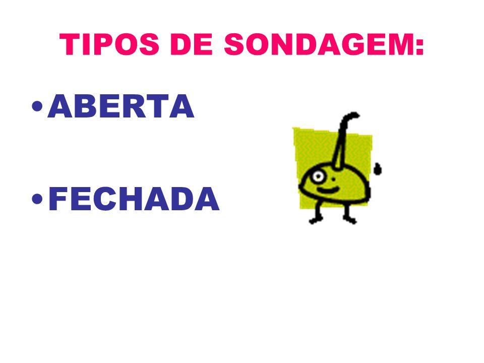 TIPOS DE SONDAGEM: ABERTA FECHADA