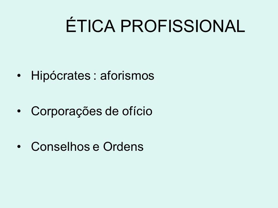 ÉTICA PROFISSIONAL Hipócrates : aforismos Corporações de ofício Conselhos e Ordens