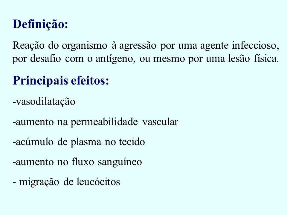 Definição: Reação do organismo à agressão por uma agente infeccioso, por desafio com o antígeno, ou mesmo por uma lesão física. Principais efeitos: -v