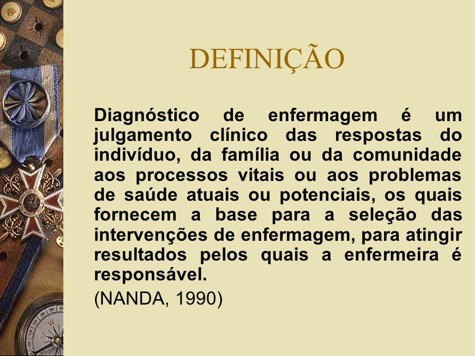 DEFINIÇÃO Diagnóstico de enfermagem é um julgamento clínico das respostas do indivíduo, da família ou da comunidade aos processos vitais ou aos problemas de saúde atuais ou potenciais, os quais fornecem a base para a seleção das intervenções de enfermagem, para atingir resultados pelos quais a enfermeira é responsável.