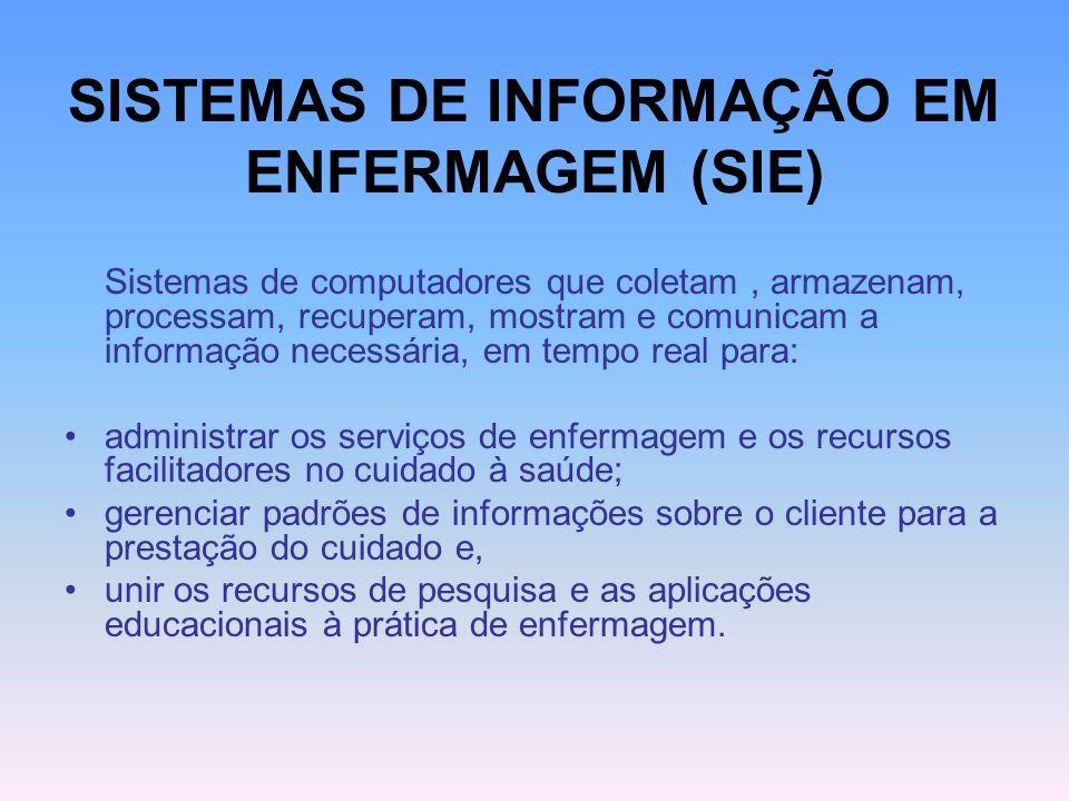 SISTEMAS DE INFORMAÇÃO EM ENFERMAGEM (SIE) Sistemas de computadores que coletam, armazenam, processam, recuperam, mostram e comunicam a informação nec