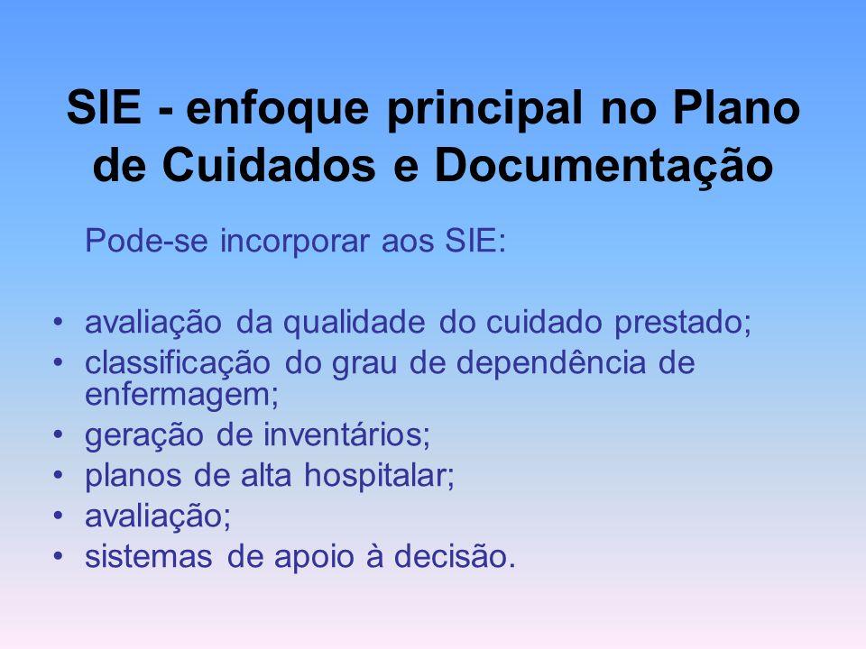 SIE - enfoque principal no Plano de Cuidados e Documentação Pode-se incorporar aos SIE: avaliação da qualidade do cuidado prestado; classificação do g