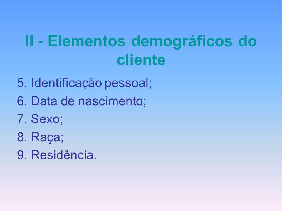 II - Elementos demográficos do cliente 5. Identificação pessoal; 6. Data de nascimento; 7. Sexo; 8. Raça; 9. Residência.
