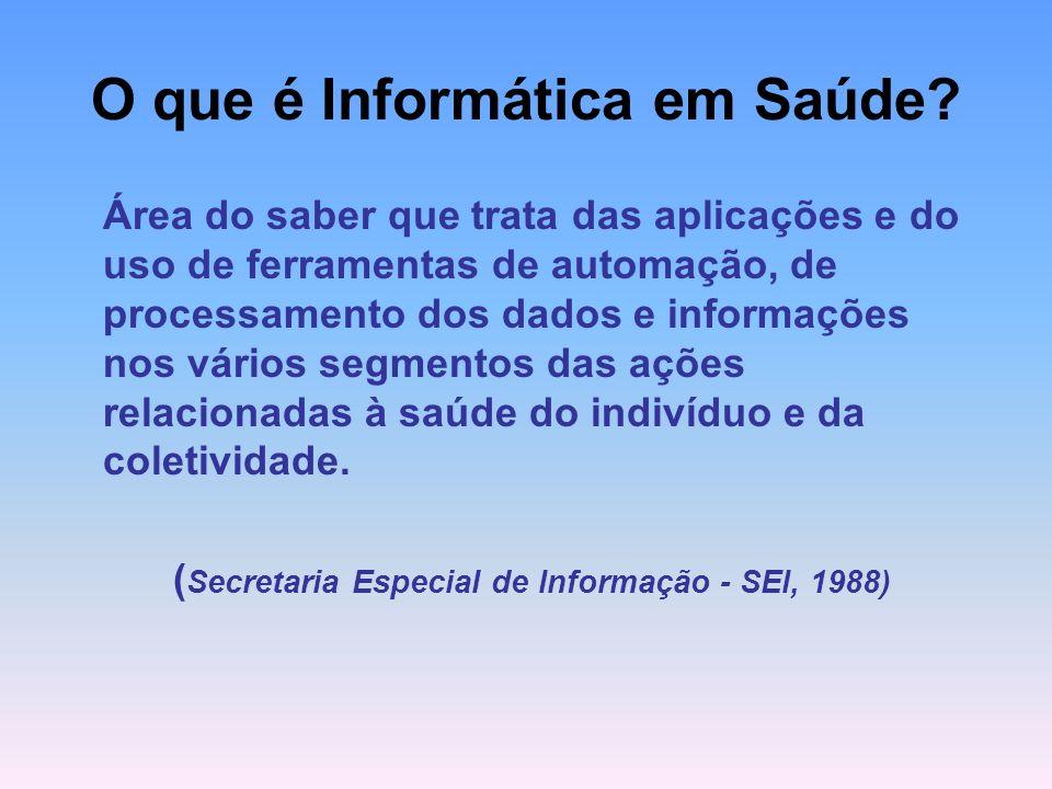 O que é Informática em Saúde? Área do saber que trata das aplicações e do uso de ferramentas de automação, de processamento dos dados e informações no
