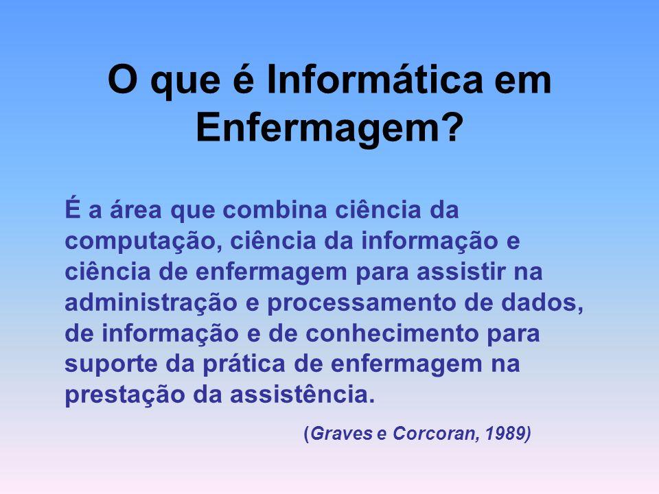 Os sistemas de informação baseados no uso de computadores irão cada vez mais revolucionar o processo de comunicação na área da saúde e, como conseqüência, trarão mudanças significativas, até mesmo no mercado de trabalho da enfermagem (Mills, 1988).