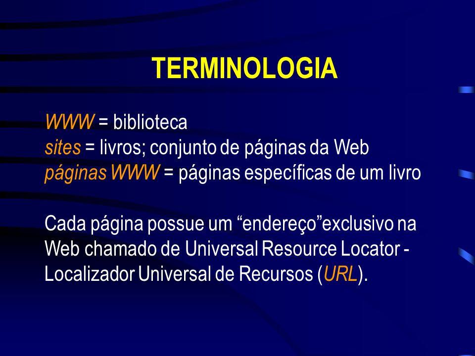 TelnetFTPE-mailNewsgroups Listas de discussão WWW (Wide World Web) HTML (Hypertext Markup Language) TERMINOLOGIA
