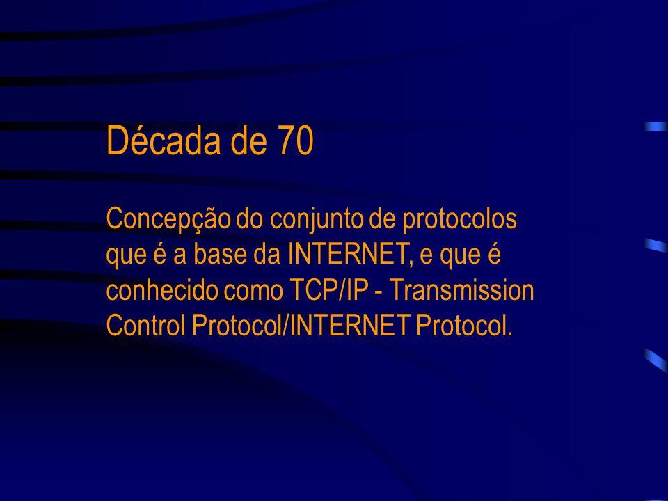 A INTERNET surgiu de um projeto de uma instituição norte-americana denominada ARPA (Advanced Research in Projects Agency), ligada ao DoD (Departament