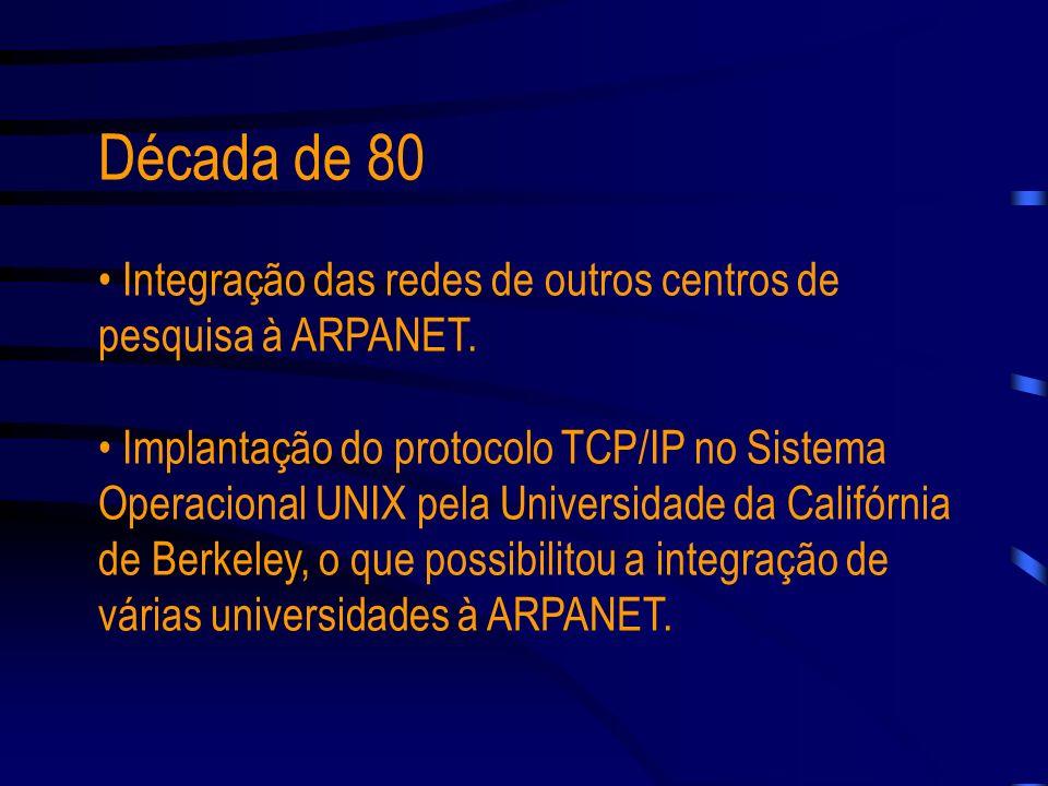 Década de 70 Concepção do conjunto de protocolos que é a base da INTERNET, e que é conhecido como TCP/IP - Transmission Control Protocol/INTERNET Prot