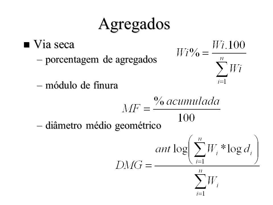 Agregados n Via seca –porcentagem de agregados –módulo de finura –diâmetro médio geométrico